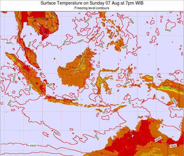 Indonesia Surface Temperature on Saturday 01 Jun at 7am WIT