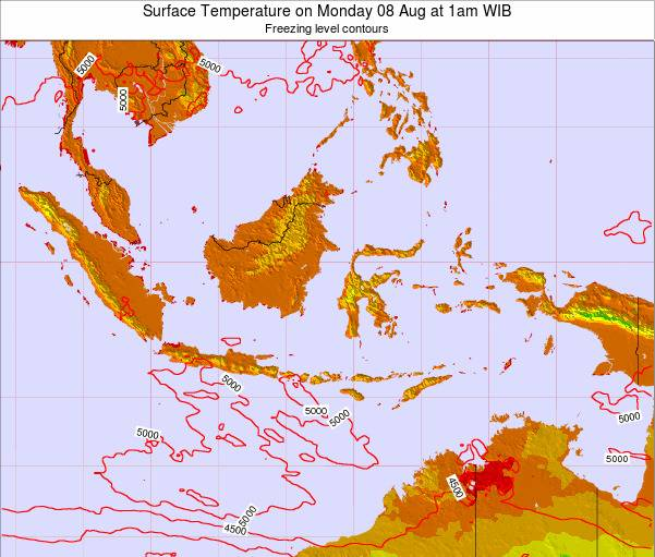 Indonesia Surface Temperature on Wednesday 22 May at 7am WIT