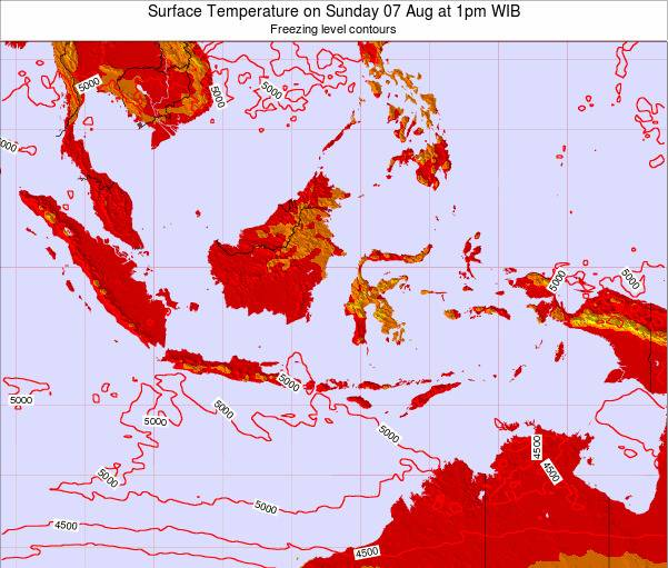 Indonesia Surface Temperature on Saturday 25 May at 1am WIT