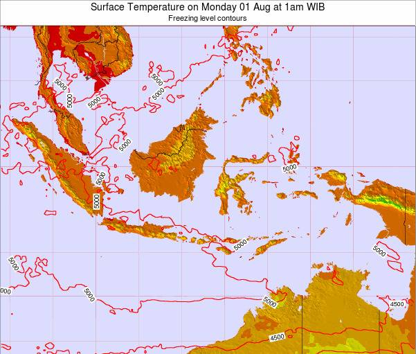 Indonesia Surface Temperature on Tuesday 21 May at 7am WIT