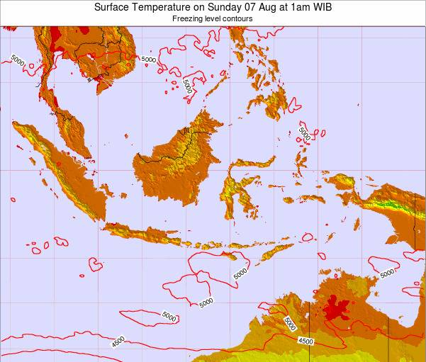 Christmas Island Surface Temperature on Saturday 25 May at 1pm WIT map