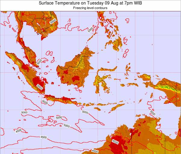 EastTimor Surface Temperature on Thursday 23 May at 7pm WIT