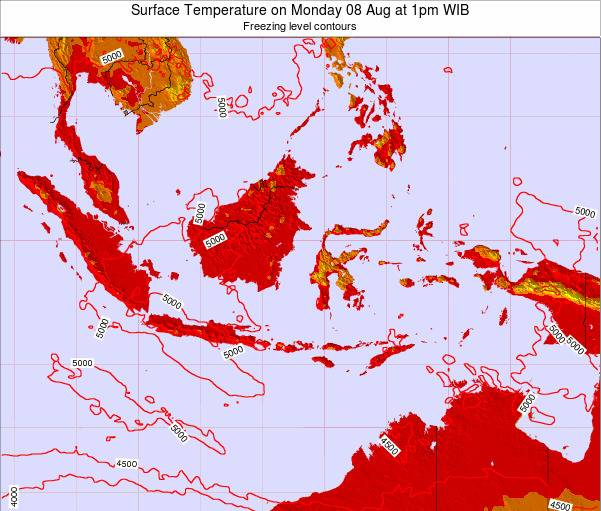Indonesia Surface Temperature on Monday 27 May at 7am WIT