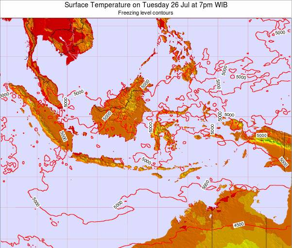 Indonesia Surface Temperature on Monday 23 Oct at 1am WIB