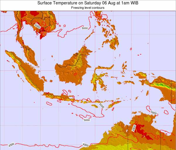 Indonesia Surface Temperature on Saturday 14 Dec at 1pm WIT