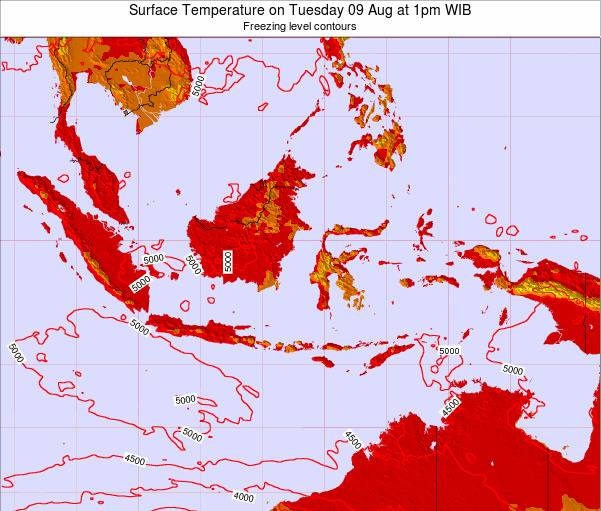 Indonesia Surface Temperature on Thursday 13 Mar at 7pm WIT
