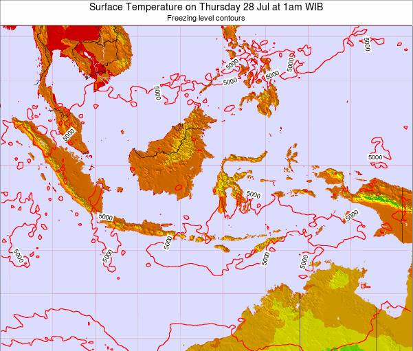 Indonesia Surface Temperature on Sunday 08 May at 1am WIB