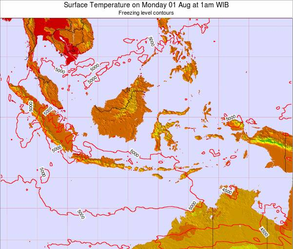Indonesia Surface Temperature on Saturday 02 Aug at 1am WIT