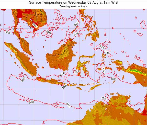 Indonesia Surface Temperature on Thursday 23 Apr at 7am WIT