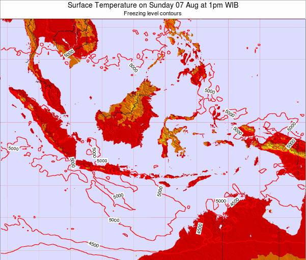 Indonesia Surface Temperature on Tuesday 22 Apr at 1am WIT