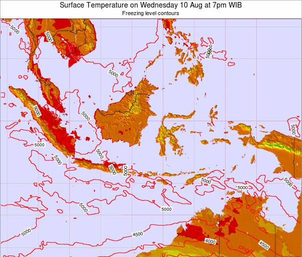 Indonesia Surface Temperature on Monday 22 Dec at 1pm WIT