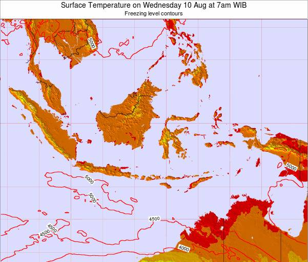 Indonesia Surface Temperature on Friday 24 May at 1pm WIT