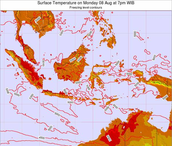 Indonesia Surface Temperature on Tuesday 26 Aug at 1pm WIT