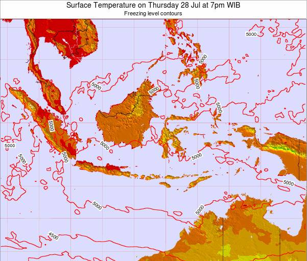 Indonesia Surface Temperature on Saturday 25 May at 7pm WIT