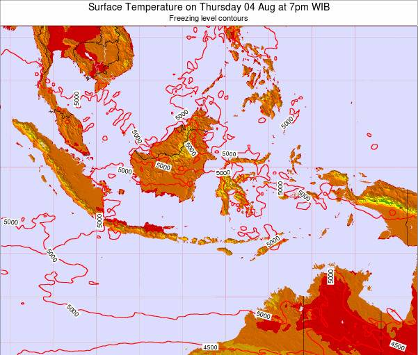 Indonesia Surface Temperature on Wednesday 22 May at 1pm WIT