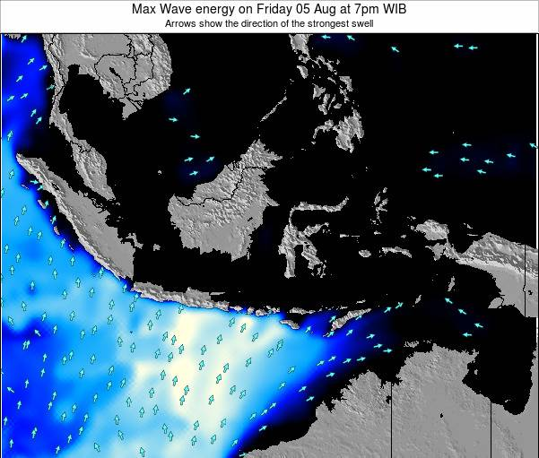 Indonesia Max Wave energy on Saturday 31 Jan at 7am WIT