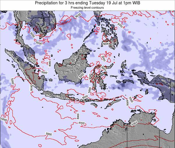 Indonesia Precipitation for 3 hrs ending Tuesday 29 Jul at 7pm WIT