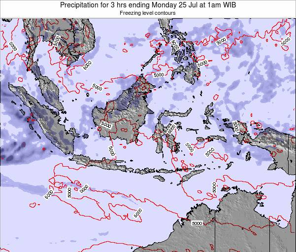 Indonesia Precipitation for 3 hrs ending Sunday 20 Apr at 7pm WIT