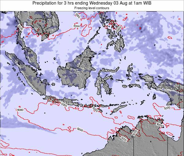 Indonesia Precipitation for 3 hrs ending Wednesday 23 Jul at 1pm WIT