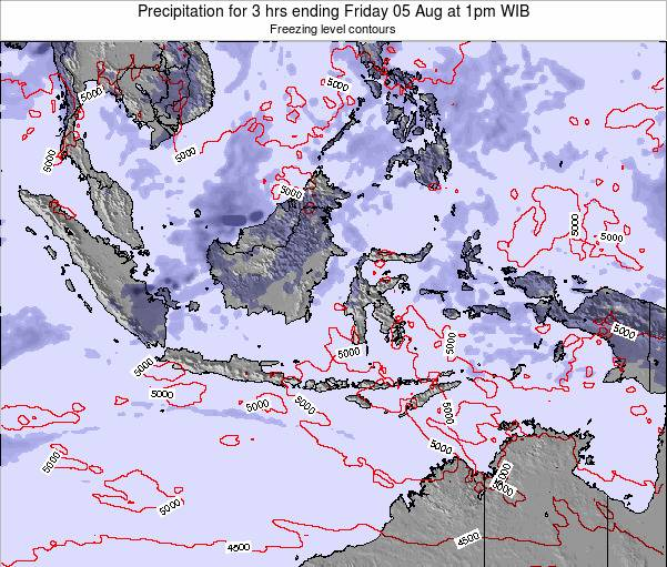 Indonesia Precipitation for 3 hrs ending Saturday 23 Jun at 1pm WIB map