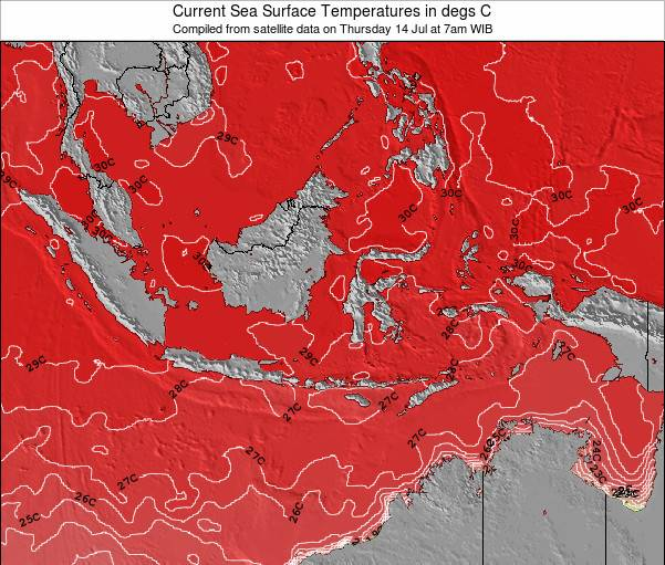 Indonesia Temperatura del Mar Mapa