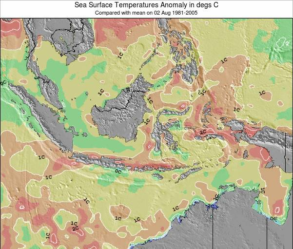 Indonesia Sea Temperature Anomaly Map