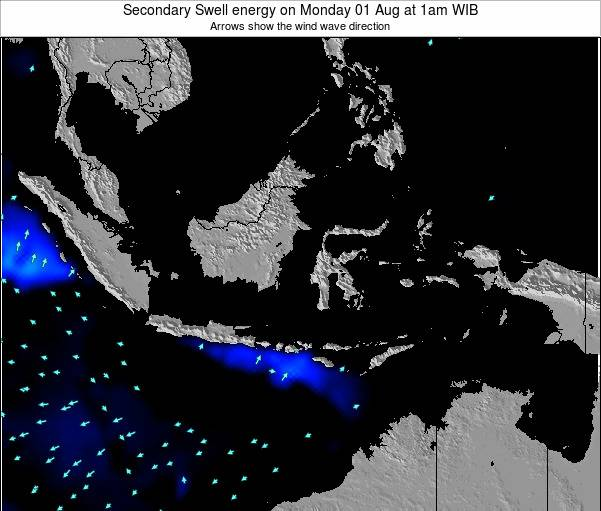 Indonesia Secondary Swell energy on Sunday 02 Oct at 1pm WIB