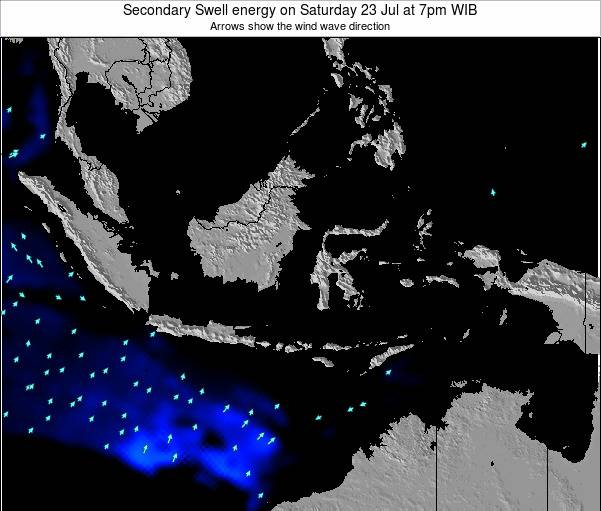 Indonesia Secondary Swell energy on Tuesday 22 Aug at 7pm WIB