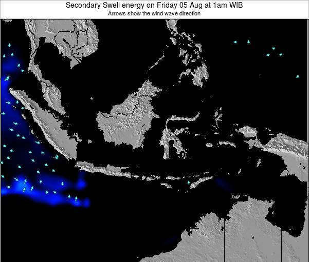 Indonesia Secondary Swell energy on Monday 27 May at 7am WIT