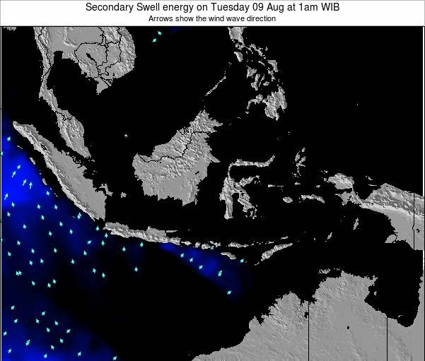 Indonesia Secondary Swell energy on Monday 28 Jul at 7am WIT