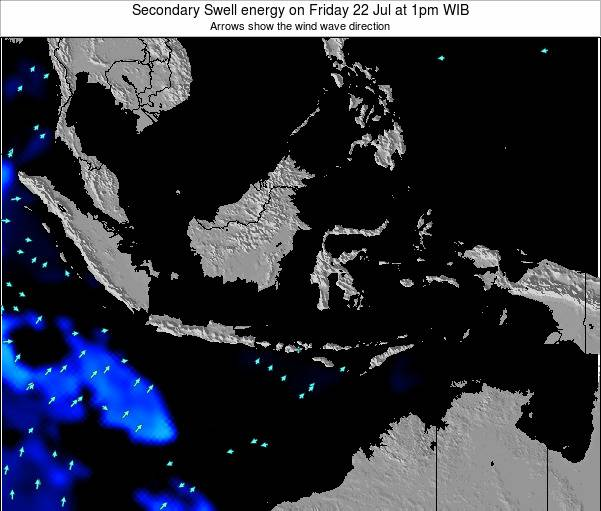 Indonesia Secondary Swell energy on Monday 04 Aug at 1pm WIT