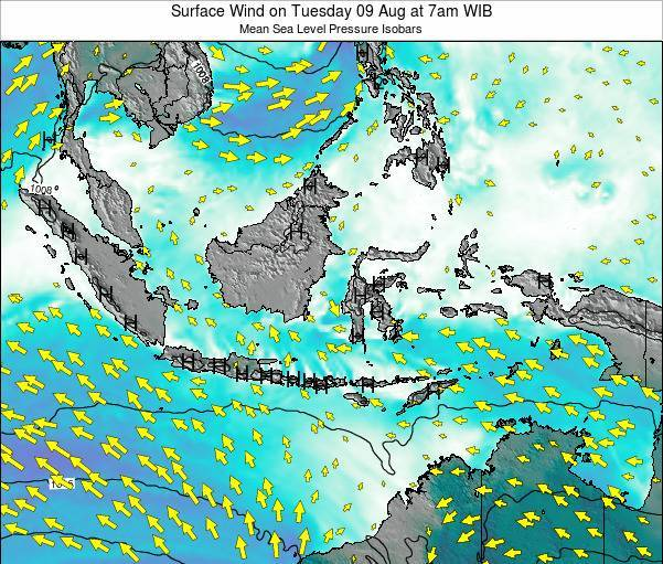 Indonesia Surface Wind on Wednesday 30 May at 1pm WIB map