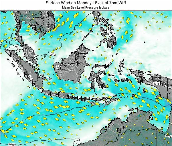 Indonesia Surface Wind on Wednesday 22 Aug at 7pm WIB map