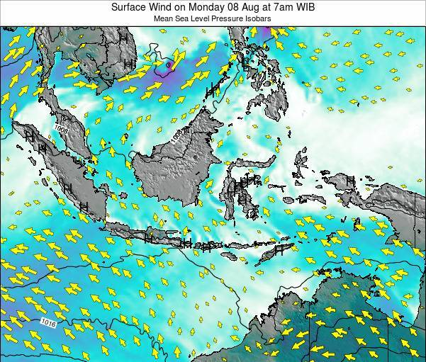 Indonesia Surface Wind on Sunday 26 Aug at 7pm WIB map