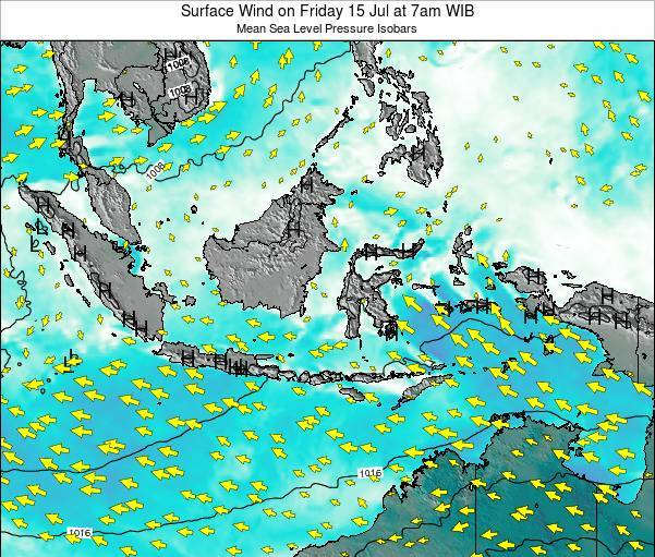 Indonesia Surface Wind on Sunday 20 Jan at 1am WIB map