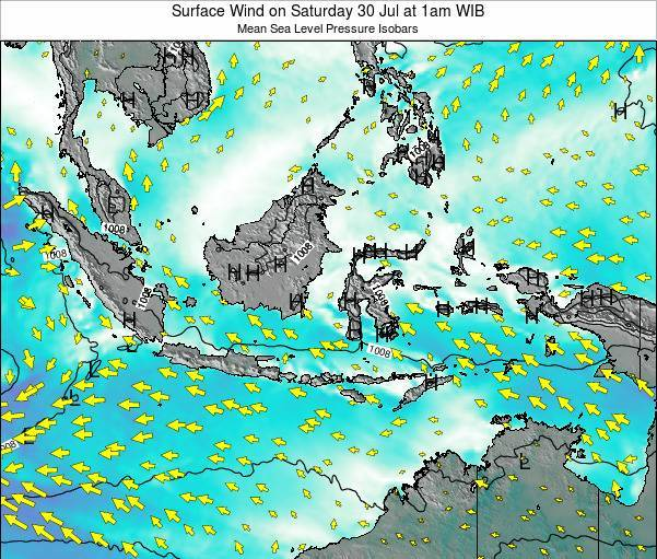 Indonesia Surface Wind on Sunday 24 Feb at 1pm WIB map