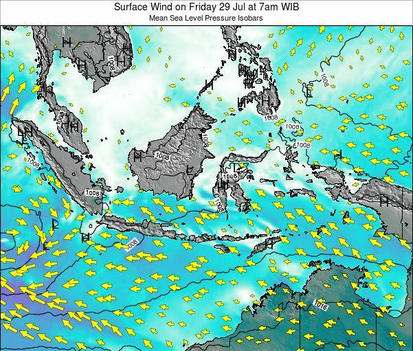 Indonesia Surface Wind on Tuesday 22 Jan at 1pm WIB map