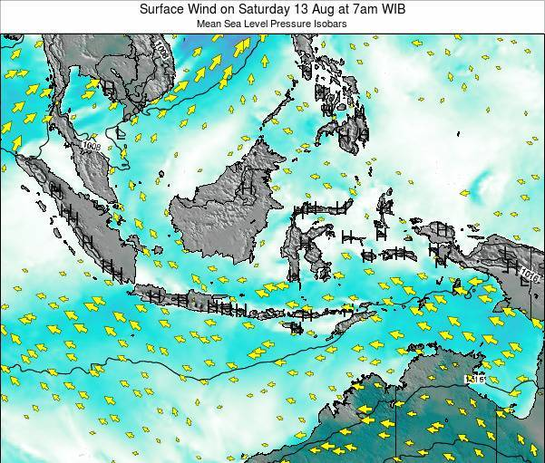Indonesia Surface Wind on Monday 17 Dec at 7pm WIB map