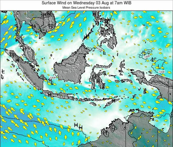 Indonesia Surface Wind on Monday 25 Feb at 7pm WIB map