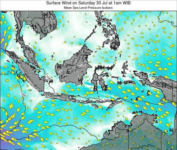Indonesia Surface Wind on Monday 28 Jan at 7am WIB map