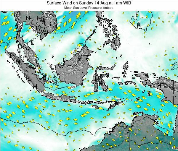 Indonesia Surface Wind on Wednesday 22 Aug at 1pm WIB map