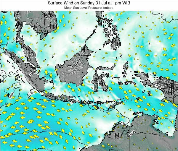 Indonesia Surface Wind on Thursday 25 Jul at 7pm WIB map