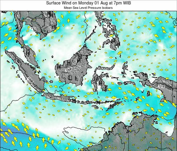 Indonesia Surface Wind on Tuesday 29 Jul at 1am WIT