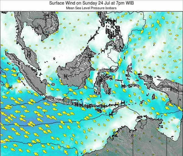 Indonesia Surface Wind on Saturday 08 Mar at 7pm WIT