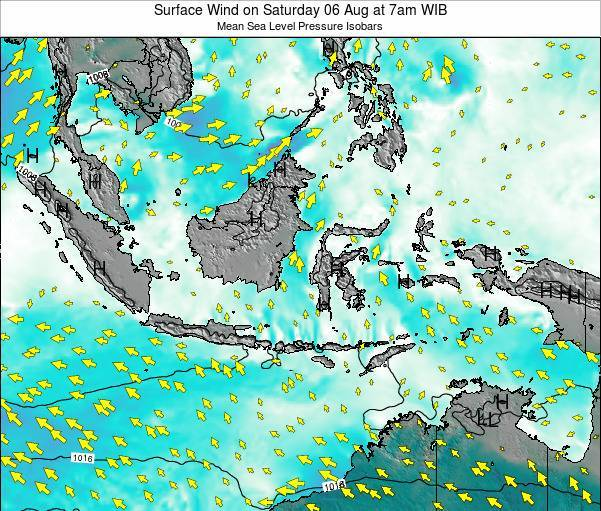 Indonesia Surface Wind on Saturday 19 Apr at 1am WIT