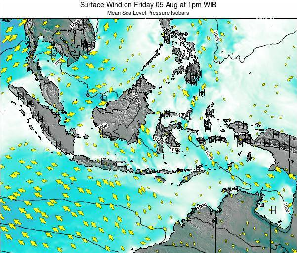 Indonesia Surface Wind on Saturday 26 Jul at 1am WIT
