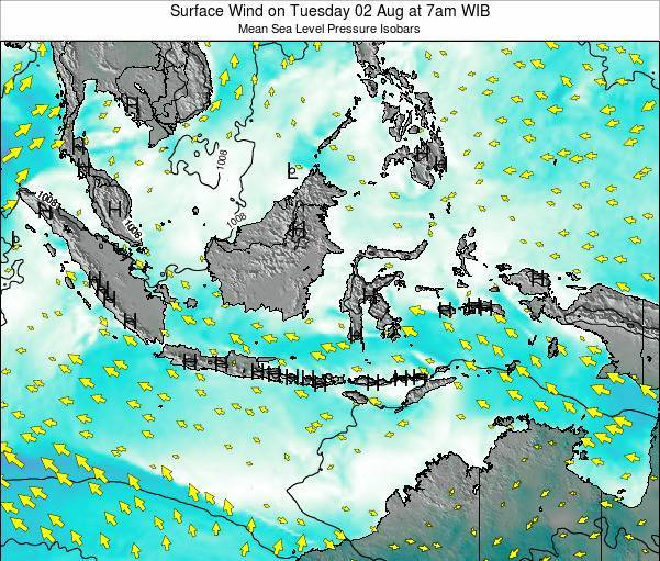 Indonesia Surface Wind on Friday 25 Apr at 7am WIT
