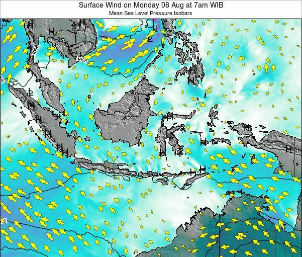 Indonesia Surface Wind on Friday 12 Feb at 1pm WIB