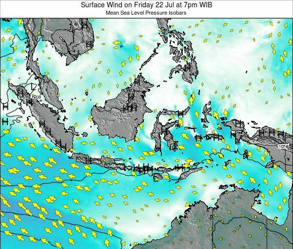 Indonesia Surface Wind on Monday 20 May at 7pm WIT