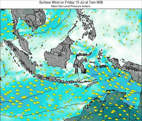 Indonesia Surface Wind on Sunday 05 Jul at 7pm WIT
